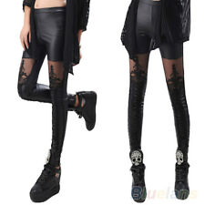 Goth Punk Rave Macbeth Women Lace-up Faux PU Leather Lace Leggings UK 10-12