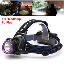 1Pcs 50000LM T6 LED Headlamp Headlight Lamp+ EU Plug Charger Set