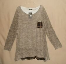REBORN Women Layered Bottom Tunic Pull Over LS Top Oatmeal / Brown FREE SHIPPING