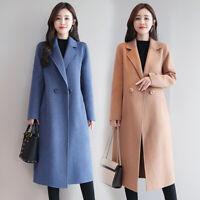 Autumn Winter Woolen Coat Womens Korean Casual Elegant Midi Outerwear Jacke,P