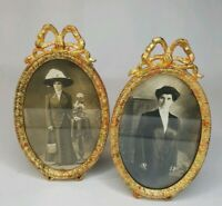 Pair Antique Victorian Picture Frames Ribbon Bow Swag Oval Gilt Metal Gold
