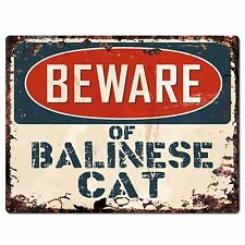 PP1555 Beware of BALINESE CAT Plate Rustic Chic Sign Home Store Decor Gift