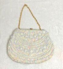 Vintage Hand Made Beaded Sequins Evening Bag Purse Hong Kong Vgc