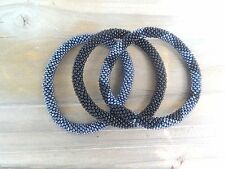 Metallic Gunmetal Black and Black Handmade Beaded Bracelets Set,Seed Beads,Nepal