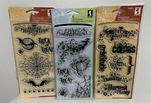 Inkadinkado HALLOWEEN Fall Autumn Witch Bat Spider Rubber Stamps Lot