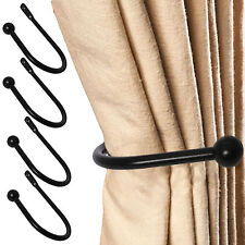 4 x LUXURY MODERN BLACK BALL CURTAIN HOLD BACKS Large Metal Tassel Tie Hook Set