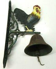 Cast Iron Cockerel Front Door Bell Bracket Gate Garden Ornament Rooster Used