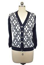 Michael Kors Womens Blue Argyle Sweater Cardigan Size Large Acrylic 3/4 Sleeve