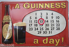 "A GUINNESS A DAY!: EMBOSSED (3D) METAL ADVERTISING SIGN/CALENDAR 12""X 8"" IRISH"