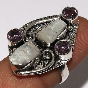 AMETHYST MOONSTONE 925 SILVER PLATED RING US 7, O7793