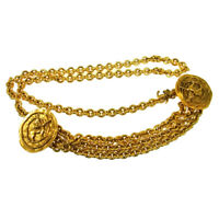 Authentic CHANEL Vintage CC Logos Medallion Gold Chain Belt Accessories RK13010