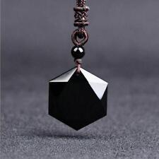 Black Obsidian Hexagram Pendant Necklace Amulet Talisman Jewelry for Men Women