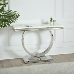 Arianna Chrome Entryway Hallway U Shape 120cm Console Table Cream Beige Marble