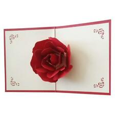 Big Rose 3D Pop UP Greeting Cards Fantastic Flower Handmade Gift Card Red