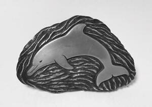 FOOT YOUNG COLD CAST DOLPHIN WALL RELIEF PLAQUE SCULPTURE SIGNED AUSTRALIAN