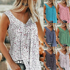 Women's Casual Floral Print V-neck Tank Tops Summer Sleeveless Tunic Blouse