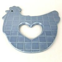 Rare Treasure Craft Blue Chicken Trivet Hot Plate with Cutout Heart Country Farm