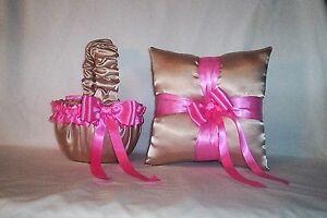 CHAMPAGNE SATIN / HOT PINK TRIM FLOWER GIRL BASKET & RING BEARER PILLOW