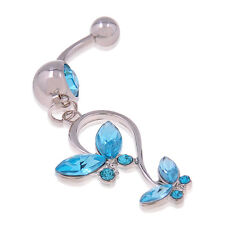 Butterfly Dangle Ball Crystal Barbell Bar Belly Navel Body Piercing Ring blue