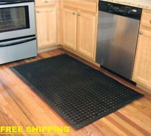 "Anti-Fatigue Rubber Flat Mat 36"" x 60"" Heavy Duty Non-Slip Kitchen Floor"