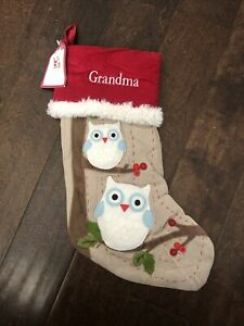 NWT Pottery Barn Kids Woodland Owls Beige  Red Christmas Stocking Mono Grandma