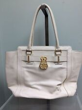 EMMA FOX Beige Ivory Leather Large Tote Purse Gold Lock