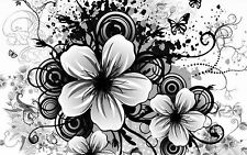 Framed Print - Black & White Retro Style Flowers (Picture Poster Petals Art)