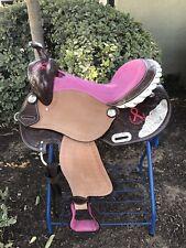 "16"" Pink Ribbon Leather Barrel Saddle"