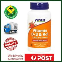 Vitamin D-3 & K-2, 1000 IU / 45mcg by NOW Foods - 120 Veg Caps - Bone Health #88