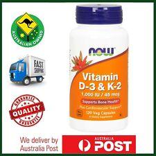 Now Foods Vitamin D 3 & K 2, Bone & Cardio Health, 1000 IU, 120 Veg Caps