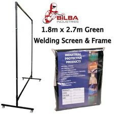 Green Welding Curtain/Screen with Heavy Duty Frame and Castors 1.8m x 2.7m