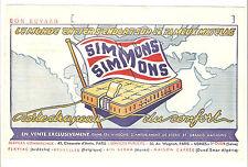 BUVARD 1950s - matelas SIMMONS, porte-drapeau du confort - 21 cm x 13,5 cm