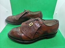 FootJoy Classics Mens Golf Shoes Size 8 D Brown Wingtip Tassel Rubber Spikes