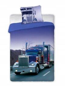 100% Cotton Duvet Cover Set Kids Boys Single Quilt Truck Lorry Childrens Bedding