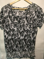Faded Glory Womens Cap Sleeve Tie Front Peasant Top Blouse Size Large