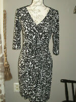 Apt. 9 black white faux wrap dress size XS