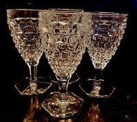 "Vintage Fostoria American 4 1/2"" Hex Footed Wine Glass Goblet Set of 4 , 8 Oz"