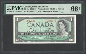 Canada One Dollar 1954 BC-37d Uncirculated Graded 66