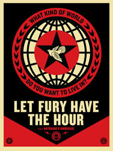 SOUGHT-AFTER! 2013 SHEPARD FAIREY Obey  LET FURY HAVE THE HOUR Film Print Poster