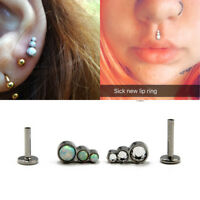 Trio Fire Opal CZ Labret Stud Ear Cartilage Tragus Piercing Earring Jewelry