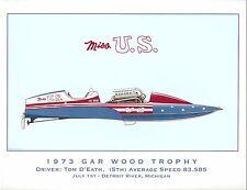 1973 Miss U.S. Gar Wood Trophy Hydroplane Art Print - by R.J. Tully