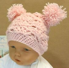 Crochet Baby Girl Hat with Pom Poms, Pale Pink Beanie, 0 Months to 3 Years