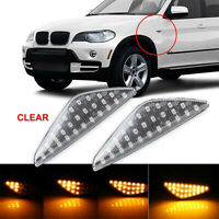 2× Dynamic LED Side Indicator Turn Signal Light Clear For BMW X3 X5 X6 F25 E70