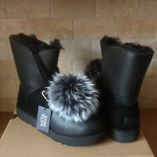 UGG ISLEY WATERPROOF BLACK LEATHER  POM POM SHORT BOOTS SIZE US 9 WOMENS