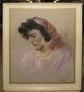 Giovanni Aligo (b. 1906) Italian Beauty Pastel Listed Sicilian Italian Artist