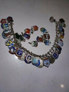 Vintage sterling silver charm bracelet + 9 extra charms