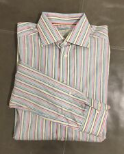 Eton Sweden Contemporary Slim Fit Pastel Striped Dress Shirt 40 15.75 35 $280