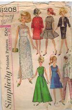 6208 Vintage Simplicity Nähen Muster Puppe Kleidung für Barbie Babs Annette Oop