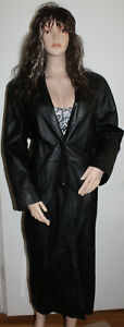 M Sexy Jacqueline Ferrar Black Leather Coat Trench Long Full Length Retail $525