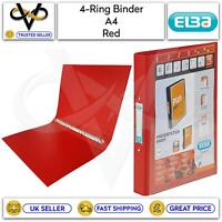Elba 4-Ring Binder Red A4 Filing Storage Protect Files School/Work/Office